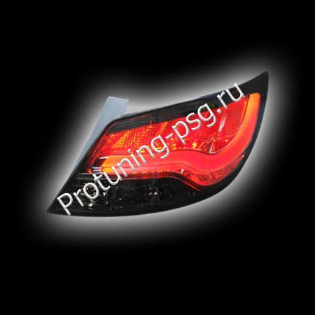 Фонари задние светодиодные для Hyundai Solaris `11-`12 (Accent USA), светодиодные, тонированный, световая трубка  RS-08311