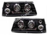 Тюнинг фары ВАЗ 2108, ВАЗ 2109, ВАЗ 21099 со светодиодной габарит-полосой(дхо), чёрные.(На правой фаре не работают 2 диода)