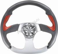 Руль Isotta Evoluzione серый с кр. и бел вставками кожа (122 5 GR-R)